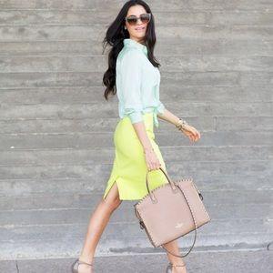 J. CREW Neon Green A-Line Pencil Skirt